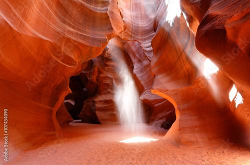 Upper Antelope Canyon Showing Sun Beam Coming into Slot Canyon, Page, Arizona, USA