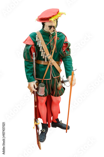 Fotobehang Indiërs action figure of a medieval arrow with a musket isolated on white background