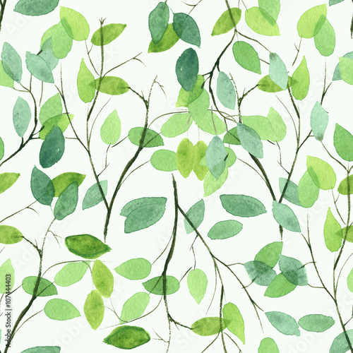 Watercolor seamless floral pattern. Flowers texture. © any_li