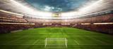Widok Panaram wewnątrz stadionu piłkarskiego - panorama stadionu piłkarskiego przed rozpoczęciem rozgrywki