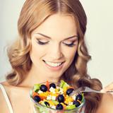 Woman with vegetarian salad