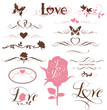Set of calligraphic hearts, roses and other decorative elements - 107449059