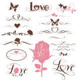 Set of calligraphic hearts, roses and other decorative elements