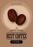 Fototapety Poster vector template with coffee beans. Advertising for coffee shop or cafe.