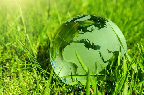 Foto Murales Weltkugel aus Glas, Erde mit Gras und Sonne, Naturschutz, Umweltschutz, Klimaschutz