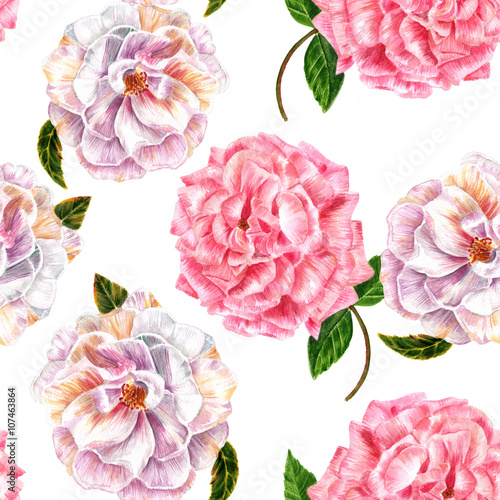 Panel Szklany Seamless background pattern with vintage style watercolor roses