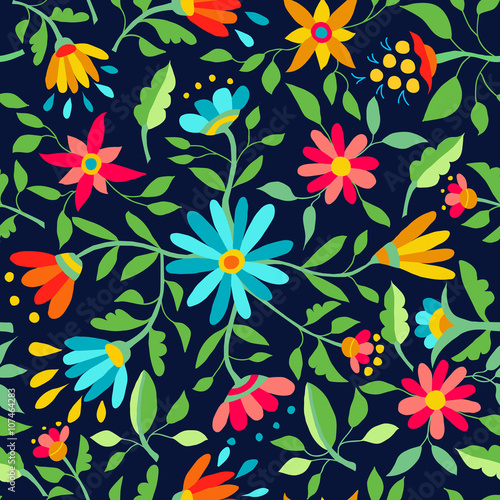 Cotton fabric Flower seamless pattern spring color background