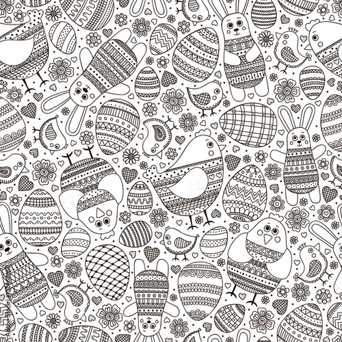 Materiał do szycia Cute Easter pattern. Vector seamless pattern with doodle easter elements. Outline doodle eggs, chicken, bunny, flowers and hearts with ornament.
