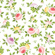 Vector seamless pattern with pink, yellow and purple roses and green leaves on a white background.