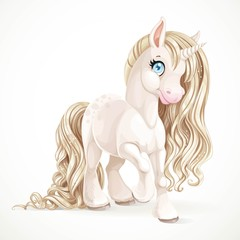 Cute fabulous unicorn with golden mane isolated on a white backg