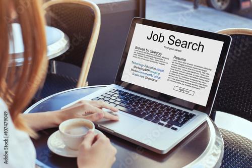 Foto Murales job search concept, find your career, online website