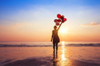 Detaily fotografie motivation or hope concept, follow your dream and inspiration, girl with balloons at sunset