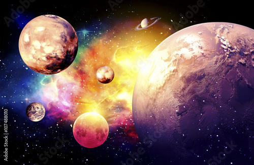 Fototapeta Planets Galaxy, the over light - Elements of this Image Furnished by NASA