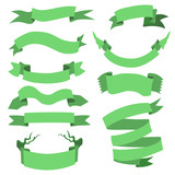 Vector Set of  Different Ribbons for Your Text.  Green Ribbons.