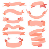 Vector Set of  Different Ribbons for Your Text.  Pink Ribbons.
