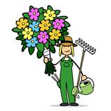 Frau als Gärtnerin mit bunten Blumen