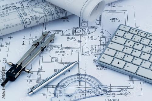 Leinwandbild Motiv Bauplan für ein Haus
