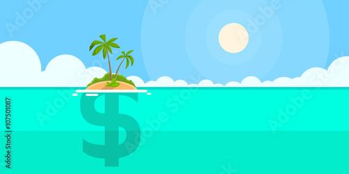 Deurstickers Groene koraal Dollar Sign Offshore Island Concept Flat