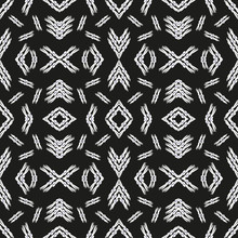 seamless pattern vintage ethnic ornament on a black background vector illustration