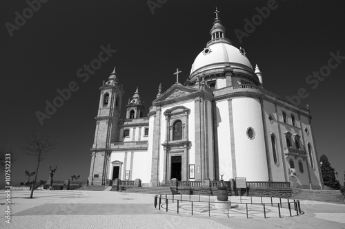 Sanctuary of Sameiro in Braga, north of Portugal. Color in black