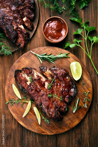 Poster, Tablou Pork ribs, top view