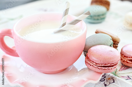 Aluminium Macarons Pink Macarons and Milk with shallow depth of field.