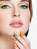 Beauty Woman Portrait. Professional Makeup and Manicure. Rainbow