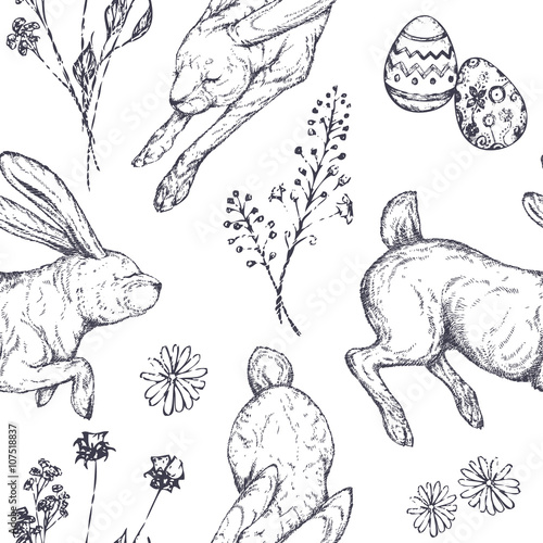 Cotton fabric Easter seamless patterns with rabbits, ornamented eggs, wild flowers, abstraction. Hand drawn vector illustration. Realistic sketches.