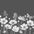 seamless monochrome border with anemone and butterflies