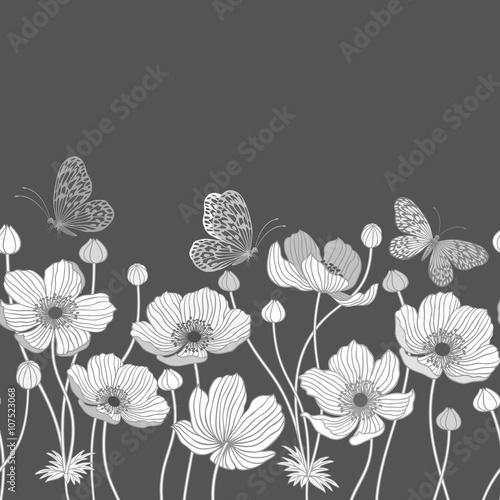 Obraz na Szkle seamless monochrome border with anemone and butterflies