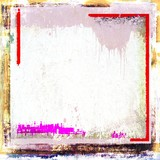 Grunge frame borders background. White, red and pink.
