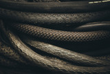 Fototapety bicycle tires, old unused Mountain Bike tire.