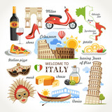 Fototapety welcome to Italy symbols set