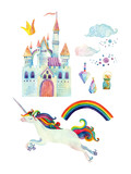 Fototapety Watercolor fairy tale collection with unicorn, rainbow, castle, magic gemstones and fairy clouds