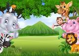 Cartoon wild animals with nature landscape background