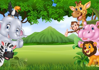 Cartoon wild animals with nature landscape background
