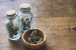 Marijuana in Glass Spice Jars