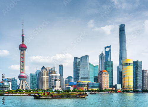 Poster View of Pudong skyline (Lujiazui) in Shanghai, China