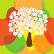 Seamless pattern with stylized blossoming apple tree on colorful