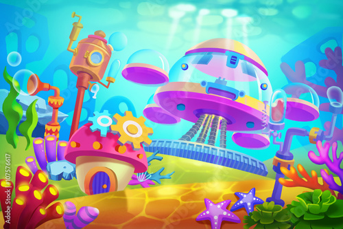Papiers peints Turquoise Creative Illustration and Innovative Art: Underwater Submarine Base. Realistic Fantastic Cartoon Style Artwork Scene, Wallpaper, Story Background, Card Design