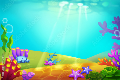 Papiers peints Turquoise Creative Illustration and Innovative Art: Whimsical Beauty of an Unknown Underwater World. Realistic Fantastic Cartoon Style Artwork Scene, Wallpaper, Story Background, Card Design