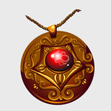 Ancient Golden amulet pendant with red stone