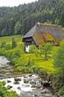 Leinwanddruck Bild - altes Schwarzwaelder Bauernhaus am Fluss