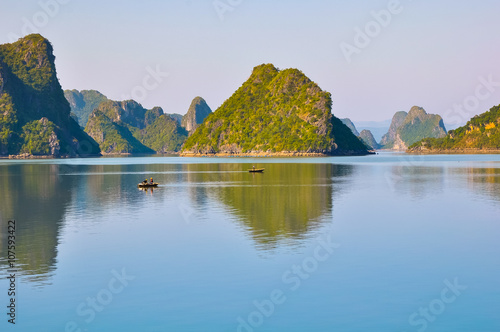 Fishing boats among the islands in Halong Bay