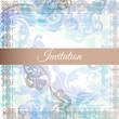 Vector hand drawn wedding invitation design in classic floral st