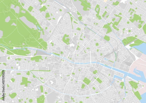 Wall mural vector city map of Dublin, Ireland