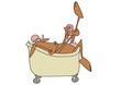 Cow in a bathtub