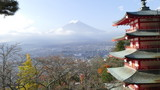 Beautiful of Mt. Fuji with fall colors in Japan