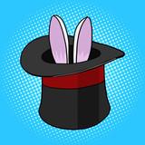 Fototapety Magician hat bunny ears pop art style vector