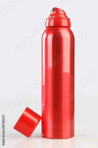 Poster Red Deodorant Perfume Can or Bottle with reflection